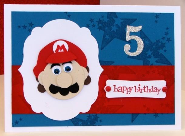 Super Mario Punch Art 5th Birthday Card Carolyn Bennie